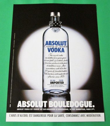 ABSOLUT BOULEDOGUE French Vodka Magazine Ad HARD TO FIND!