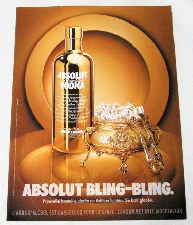 ABSOLUT BLING-BLING French Vodka Magazine Ad RARE!