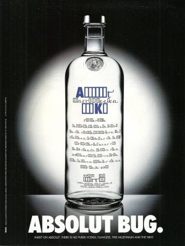 ABSOLUT BUG British Vodka Magazine Ad HARD TO FIND!