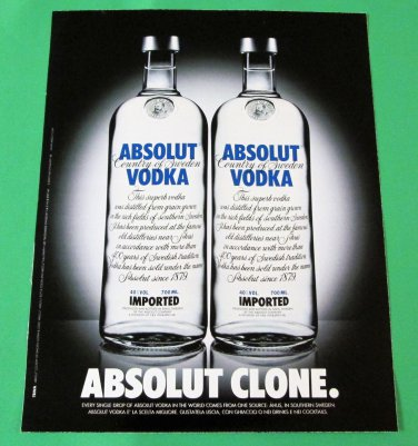 ABSOLUT CLONE Italian Vodka Magazine Ad NOT TOO COMMON!