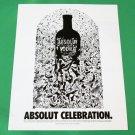 ABSOLUT CELEBRATION Vodka Magazine Ad w/ Artwork by Evan Polenghi RARE!