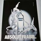 ABSOLUT FRABEL Vodka Magazine Ad w/ Artwork by Hans Godo Frabel HARD TO FIND!