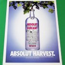 ABSOLUT HARVEST Vodka Magazine Ad w/ White Border
