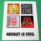 ABSOLUT LE COCQ Vodka Magazine Ad w/ Artwork by Karen Le Cocq NOT COMMON!