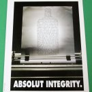 ABSOLUT INTEGRITY Canadian Fake Spoof Parody Ad + Article