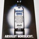 ABSOLUT NORDLICHT (Northern Lights) German Vodka Magazine Ad RARE!