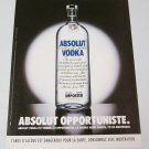 ABSOLUT OPPORTUNISTE French Vodka Magazine Ad NOT COMMON!