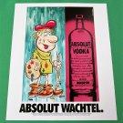 ABSOLUT WACHTEL Vodka Magazine Ad w/ Artwork by Julie Wachtel 1989 - NOT COMMON!