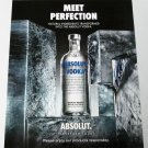 """MEET PERFECTION """"NATURAL INGREDIENTS TRANSFORMED"""" Absolut Vodka Magazine Ad"""