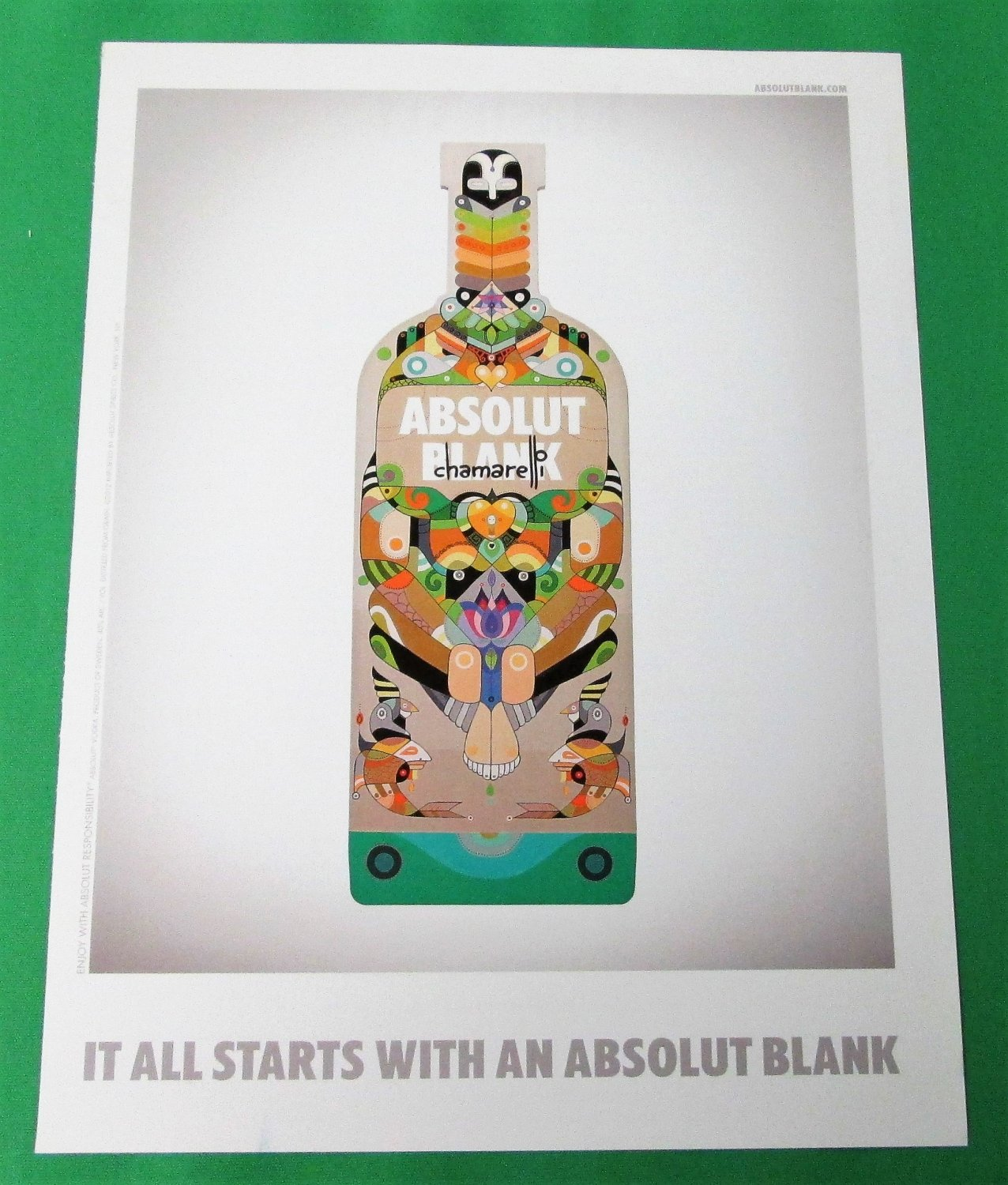 IT ALL STARTS WITH AN ABSOLUT BLANK Italian Vodka Magazine Ad CHAMARELLI VERSION