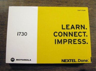 NEXTEL i730 Cell Phone Welcome & Users  Guide 020815