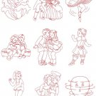 Redwork Vintage Children Machine Embroidery Design