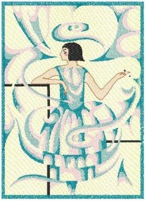 Art Deco Woman Smoke Sfumato technique Machine Embroidery