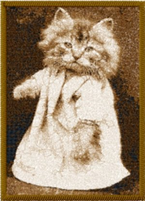 Cat Photo Stitch Sfumato Technique from Vintage Post Card Machine Embroidery