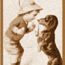 Boy and Dog Photo Stitch Sfumato Technique from Vintage Post Card Machine Embroidery