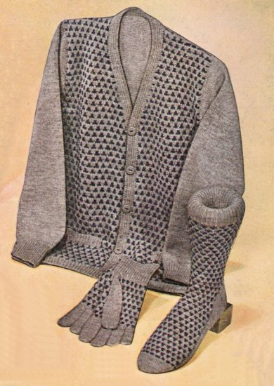 Vintage Knit Pattern 50s for Men Cardigan and Sock Woodbine on PDF