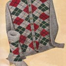 Vintage Knit Pattern 50s for Men Cardigan and Sock Diamond Plaid on PDF