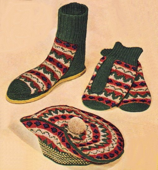 Vintage Knit Pattern 50s for Men Slipper Mitts and Hat Curling Set on PDF