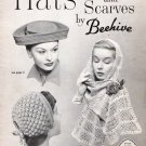 Vintage Knit and Crochet Pattern 40s Woman Hats and Scarves on PDF
