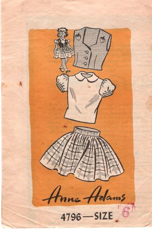 Vintage Mail Order 4796 Anne Adams Girls' Skirt Blouse and Vest 50s Size 6