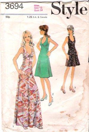 Vintage Style 3694 Misses Dress Pattern 70s Size 12