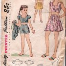 Vintage Simplicity Pattern Girl Play Suit 40s Size 10