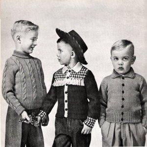 Vintage Knit Pattern 50s Cowboy Jacket for Boy sizes 2-12 years on PDF