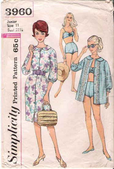 Vintage Pattern Simplicity 3960 Misses' Two-Piece Bathing Suit, Beach Shirt and Dress 60s Size Jr 11