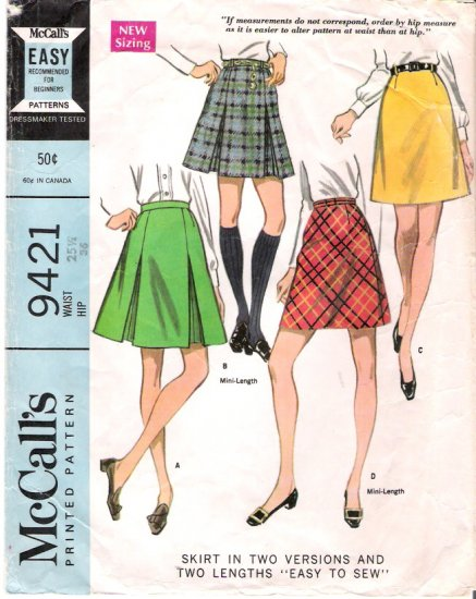 Vintage Pattern McCall's 9421 Misses Skirt in two Versions 60s Waist 25.5