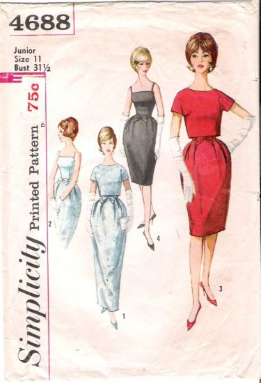 Vintage Pattern Simplicity 4688 One-piece Dress and Jacket 60s Size Jr 11 B31.5