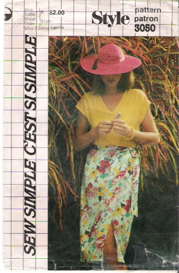 Vintage Pattern Style 3050 Misses Front Wrap Skirt 80s Waist 24