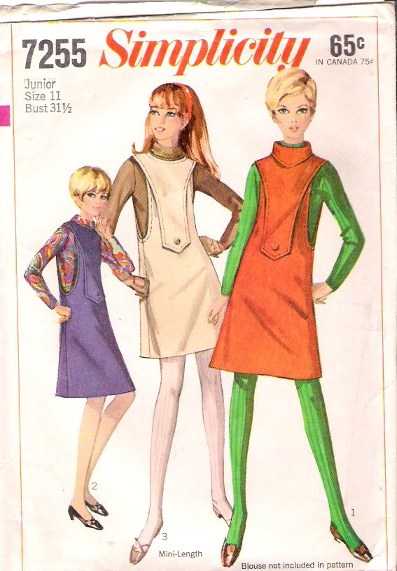 Vintage Pattern Simplicity 7255 Jr Teen Jumper 60s Size 11 B31.5