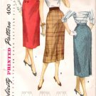 Vintage Pattern Simplicity 1345 Misses One Yard Skirts 50s Waist 28