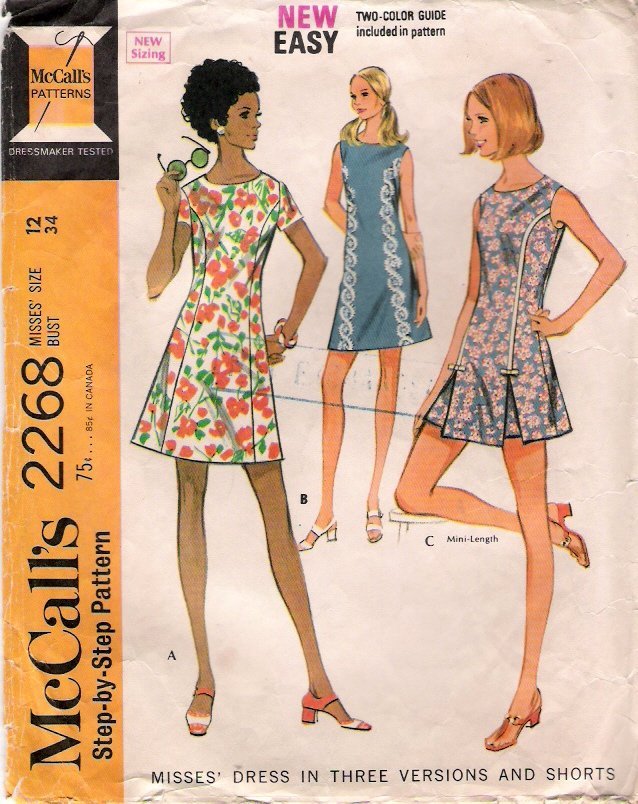 Vintage Pattern McCall's 2268 Misses Dress in Three Variations and Shorts 70s Size 12 B34