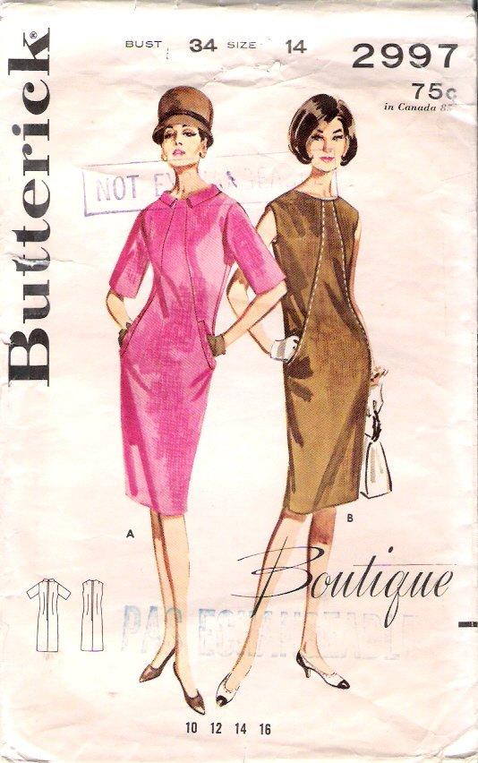 Vintage Pattern Butterick 2997 Misses Diagonally Seamed Dress 60s Size 14 B34