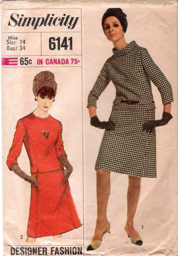 Vintage Pattern Simplicity 6141 Misses Two-Piece Dress Designer Fashion 60s Size 14 B34