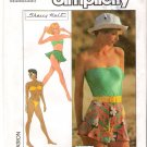 Vintage Pattern Simplicity 8558 Bikini and Pull-On Shorts and Skirt - Tube Top 80s Size 6-8-10