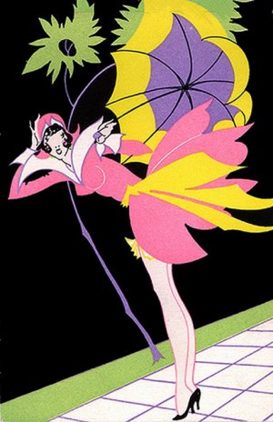 "Cross Stitch Pattern Chart on Printable PDF Vintage AD ""Girl with Umbrella"""