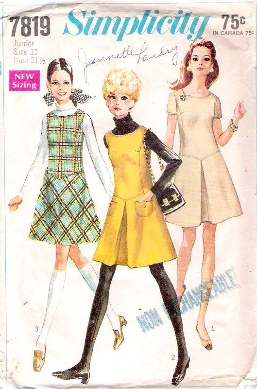 Vintage Pattern Simplicity 7819 Jr Teen Jumper and Dress 60s Size 11 B31.5