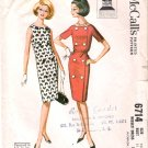 Vintage Pattern McCall's 6714 Misses Dress 60s Size 10 B31