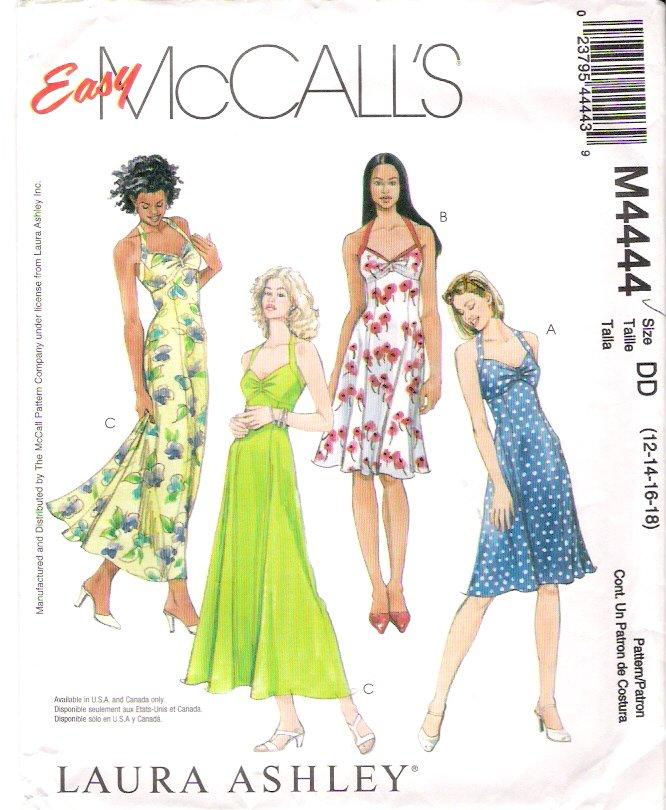 Pattern McCalls 4444 Miss Halter Dress Size 12-18 UNCUT