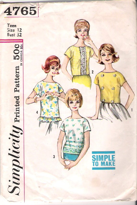 Vintage Pattern Simplicity 4765 Blouse 60s Size Teen 12 B 32