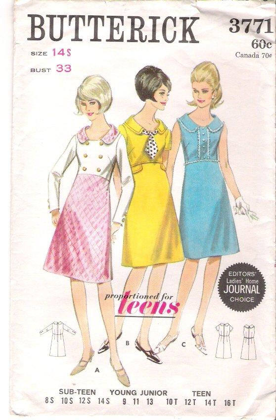 Vintage Pattern Butterick 3771 Dresses Variations 60s Size 14 B33