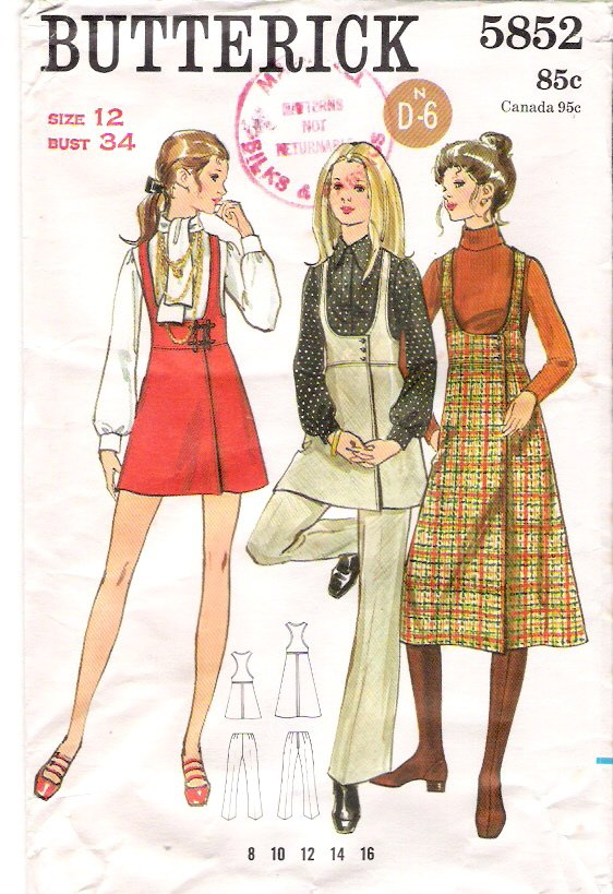 Vintage Pattern Butterick 5852 Misses Jumper and Pants 70s Size 12 B34