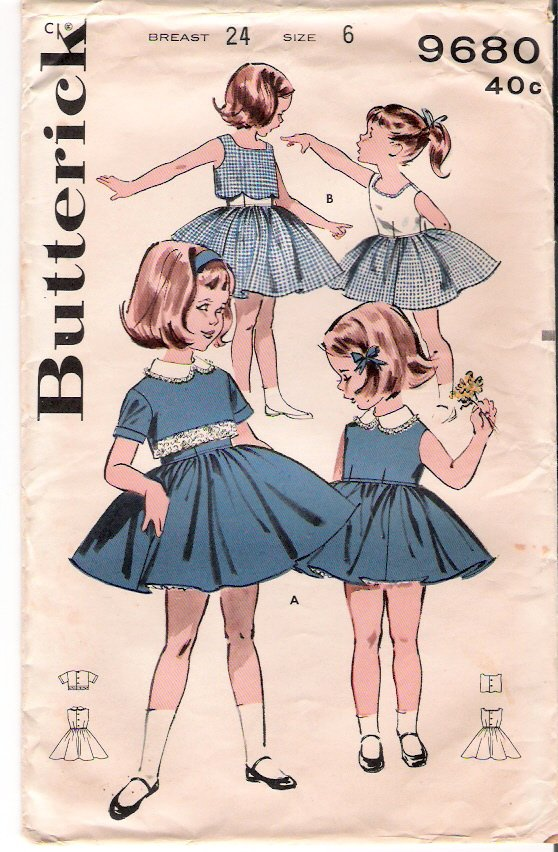 Vintage Pattern Butterick 9680 Girls Dress with Cropped Jacket 50s Size 6