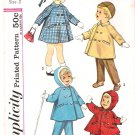 Vintage Pattern Simplicity Toddlers' Coat, Hooded Coat and Pants Early 60s Size 2 UNCUT