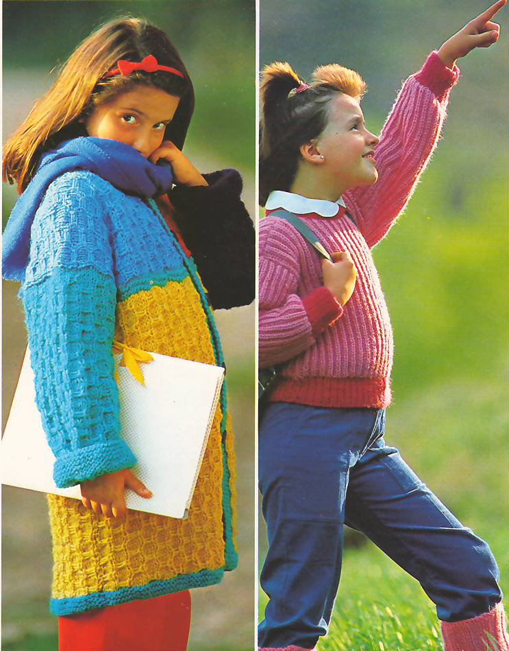 Knit Pattern Girl Coat and Pullover No 1 Size 7 in 2 Languages Printable on PDF 80s