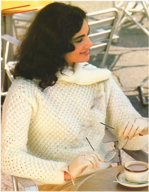 Knit Pattern Women Pullover No 2 Size 12-14 or European 42 in 2 Languages Printable on PDF 80s