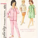 Vintage Pattern Simplicity 4237 Girls' Pajamas in Two Lengths and Nightshirt 60s Size 8