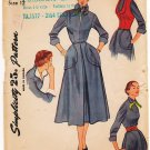 Vintage Pattern Simplicity 3108 Misses' Dress with Weskit 40s Size 12 B30